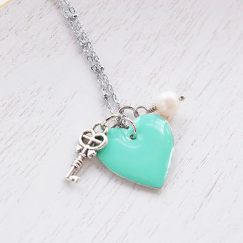 Mint Green Heart Necklace,Seafoam Green Enamel Heart Romance Key Necklace,Gift for Her,Key to My Heart,Silver Key Necklace,Bridesmaid Gift