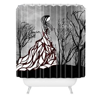 Lost in the woods fashion illustration shower curtain