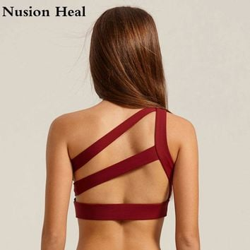 Oblique One Shoulder Strap Women'S Sports Bra Push Up Padded Running Hollow Out Back Lines Strenuous Exercise Fitness Bra Tops