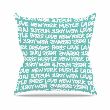 """Just L """"Lux Writing Wht Teal"""" White Typography Outdoor Throw Pillow"""