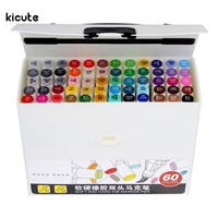 12/24/48/60 Colors Broad and Brush Dual Twin Tip Brush Art Markers Soft and Hard Nib Marker Pen Sets Art Graphic Design Supply