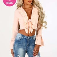 Perfect Illusion Peach Lace Up Ruffle Crop Top