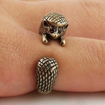 Animal Wrap Ring - Hedgehog- Bronze - Adjustable Ring