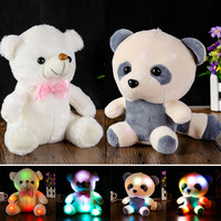 Colorful Lovely  LED Flash Light Large Panda Doll Glowing Teddy Bear Hug Led Stuffed Plush Toy Children Gifts for Birthday