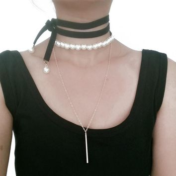 Simple Harajuku Long Black Leather Rope Velvet Chokers Necklace For Women Fashion Imitation Pearl Charm Pendant Necklace Chocker