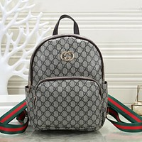 Gucci Women Men Leather Zipper School Backpack Travel Bag