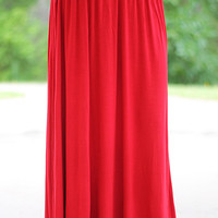 Easy Rider Maxi Skirt, Red
