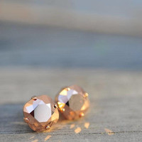 1.70 Carat Champagne Si2 Diamond Earrings 14k Rose Gold Setting Jewelry Fine Make Anniversary Anniversary Collection Quality in Elegant Box