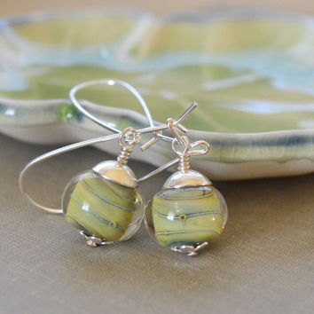 Lampwork Glass Earrings, Cream and Green, Boro Glass, Swirled Marble, Kidney Wire, Sterling Silver Earrings, Beach Style
