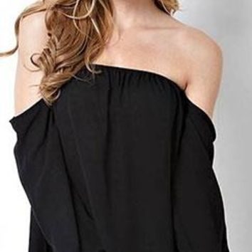 Hot Date Black Chiffon Off The Shoulder 3/4 Long Loose Sleeve Elastic Cuff Peasant Top Blouse - Almost Gone!