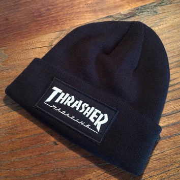 Thrasher Knit Beanie With Patch Logo