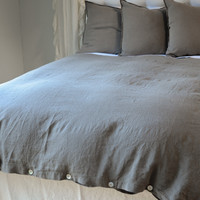 Dark Natural Linen Duvet Cover Overdyed in FRENCH GREY