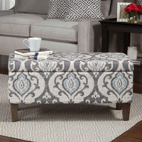 HomePop Blue Slate Large Decorative Storage Ottoman | Overstock.com Shopping - The Best Deals on Ottomans