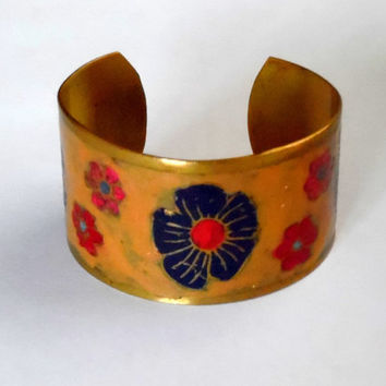 Floral cuff bangle. brass. enamel. hand painted. yellow. red. irridescent. blue. gold. vintage. 70s. boho. arts + crafts. gift. wide bangle