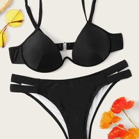 Underwired Top With Cut-out Bikini Set