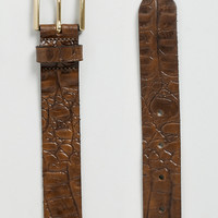 Brown Textured Leather Belt - Men's Belts - Shoes and Accessories
