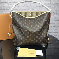 LV Louis Vuitton tide brand female high quality shoulder bag handbag Coffee print