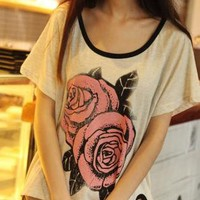 Vintage Big Rose Print Cropped T-shirts
