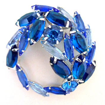 JULIANA Blue Swirl Rhinestone Brooch, Silver Plated, Vintage