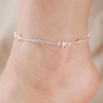 Starfish and Crystal Stone Chain Link Anklet