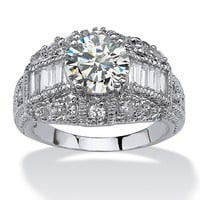 3.17 TCW Round Cubic Zirconia Silvertone Anniversary Ring