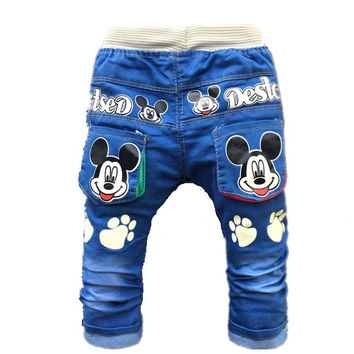2017 New Cartoon Printed Baby Boys Denim Pants Elastic Waist Casual Toddler Kids Girls Trousers Children's Jeans for 2-4 Years