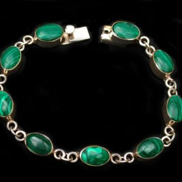 Sterling Malachite link Bracelet signed Mexico  Green gemstone inlay   Silver  links Taxco