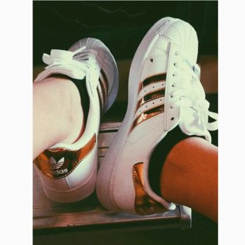 """""""Adidas"""" Fashion Shell-toe Flats Sneakers Sport Shoes golden"""