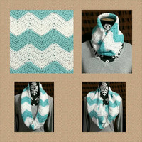 White and Mint Chevron Extra wide single loop scarf