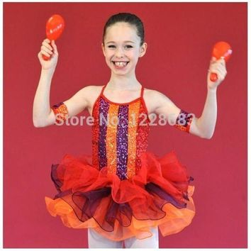 ESB1ON Free Shipping New 2015 Dnacewear Ballet Sequin Rainbow Kids Adult Red Tutu Toddler Ballet Clothes Tutus For Teens