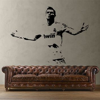 ik2859 Wall Decal Sticker Soccer football player Cristiano Ronaldo Real Madrid living room