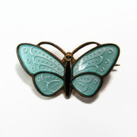 Askel Holmsen Butterfly Pin, Sterling Silver, Guilloche Enamel, Made in Norway, Vintage Jewelry, Butterfly Brooch, Estate Jewelry, Brooch