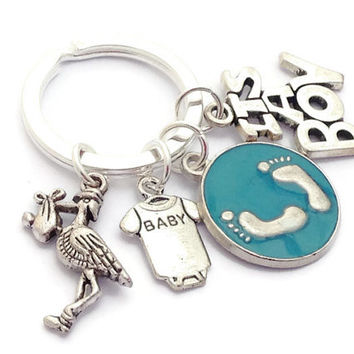 It's A Boy Keyring, Baby Boy Keychain, New Arrival Key Ring, Stork Pendant, Baby Shower Gift, Pregnancy Present, Congratulations Token