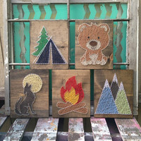 String Art Animal Set, Camping Nursery Art, Bear String Art, Tent Decor, Woodland Decor, String Art Fire, String Art Mountains, 5 piece set