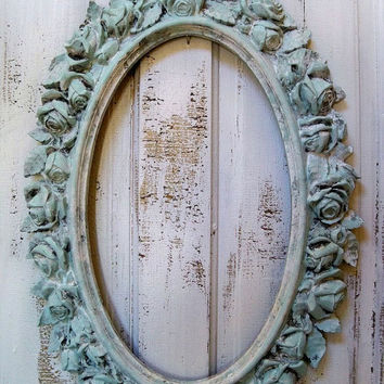 Vintage ornate rose frame distressed blue white shabby chic wall decor Anita Spero