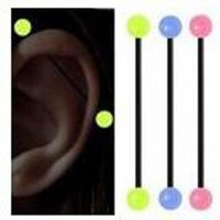 ac DCCKO2Q 1 Piece 1.6x38x6mm 14G Fashion Soft Industrial Straight Barbell Glow in the Dark Ear Nail Flexible Earring Body Piercing Jewelry
