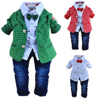 new baby boy high quality plaid gentlemen clothing sets 3pcs kids clothes sets boy coat set boy