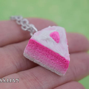 Pink Ombre Cake Slice Necklace | Polymer Clay | Charm Necklace | Food Necklace | Cute Kawaii | Strawberry Cake | Miniature Cake