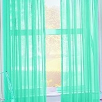 No. 918 Calypso 59 by 84-Inch Sheer Voile Curtain Panel, Sky Blue:Amazon:Home & Kitchen