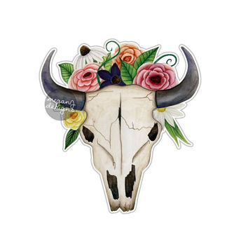 Bull Skull with Flowers Sticker Cow Longhorn Skull Car Decal Tribal Southwestern Bull Skull Horn Art Boho Hippie Floral Western Wall Decal