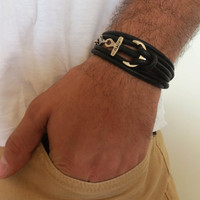 Men's Bracelet - Men's Anchor Bracelet - Men's Black Bracelet - Mens Jewelry - Bracelets For Men - Jewelry For Men