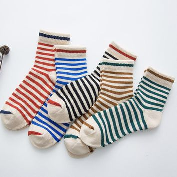 Stripe 100% Cotton Crew Socks