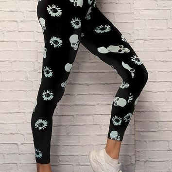 Black Skull Print Elastic Waist Sports Nine's Leggings
