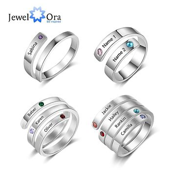 Personalized Mothers Rings Custom Name Birthstone Rings for Women Engraved Jewelry  Christmas Birthday  Gifts for Mom