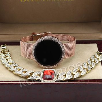 New Rose Gold Digital Smart Watch Mash Band Iced Out Ruby Cuban Bracelet Set 58