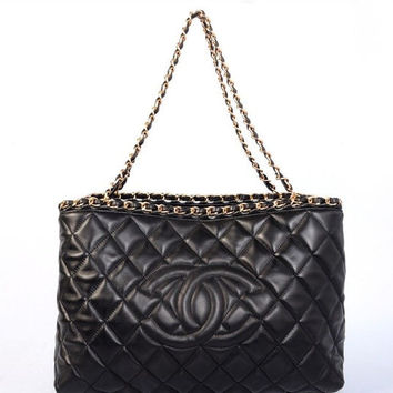 Chanel Black Leather Shopping Tote