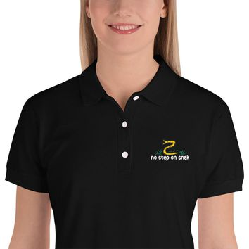 No Step On Snek Embroidered Women's Polo Shirt