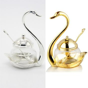 dish Bottle Creative Useful New Stainless pepper Bowls swan Steel golden sugar