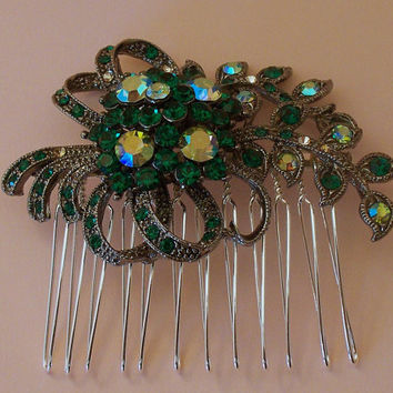 Bridal Hair Comb, Emerald Crystal Rhinestone Comb, Wedding Hair Accessories, Prom Hair Comb, Crystal AB Hair Comb, Vintage Style