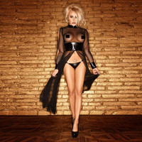 Long Sleeve Faux Leather and Mesh Lingerie Set